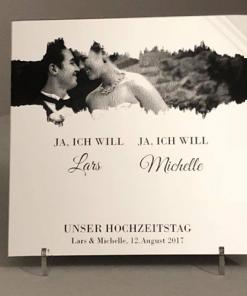 Spiegel Gravur mit der Soundwave von dem 'Ja, ich will' inkl. Poträtfoto