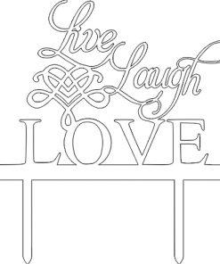"Kuchenstecker ""Live, Laugh, Love"" aus Acryl weiss"