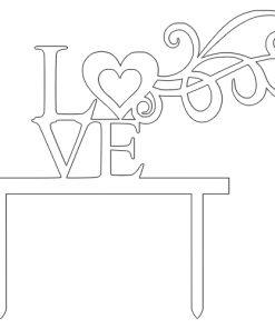 Kuchenstecker LOVE mit Ornament aus Acryl weiss