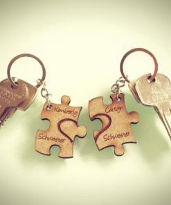 Schlüsselanhänger aus Holz (Schwesterherz Puzzel)