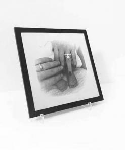 Spiegel Gravur Portrait inkl. Acryl Ständer