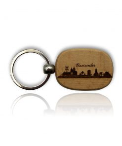 """Schlüsselanhänger aus Holz mit der Skyline """"Baesweiler"""""""