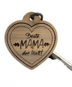 """Schlüsselanhänger aus Nussbaum mit """"Beste Mama der Welt"""" - Herz"""