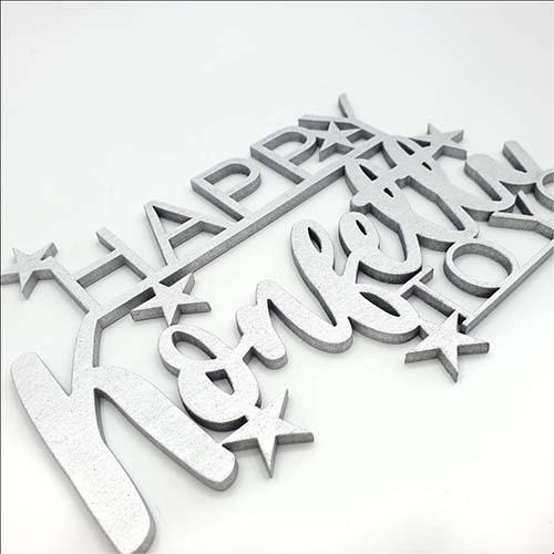 3d Schriftzug happy konfetti to you silber