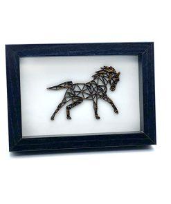 Pferd 3D aus Holz im Rahmen