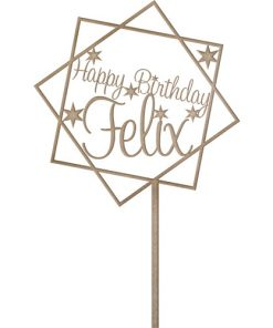 Cake Topper Happy Birthday mit Name MDF