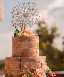Kuchenstecker - Cake Topper Liebesbaum mit Datum und Namen
