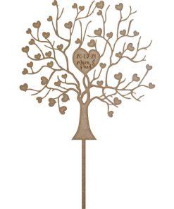 Kuchenstecker - Cake Topper Liebesbaum mit Datum und Namen Holz natur