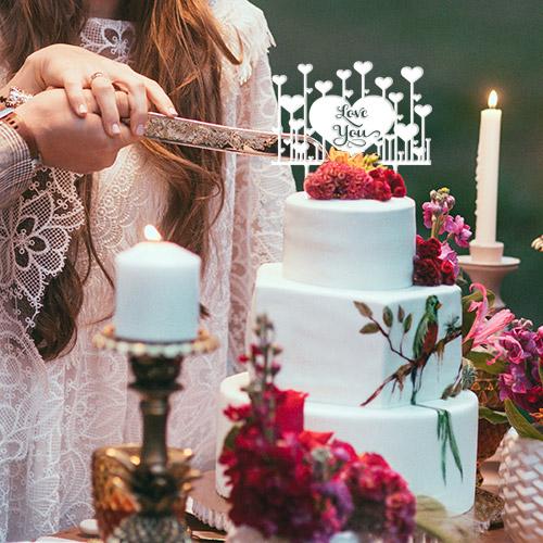 Cake Topper Love you mit Herzen
