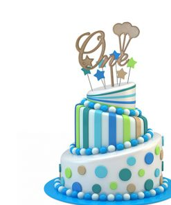 "Kuchenstecker - Cake Topper ""One"" mit Luftballons"