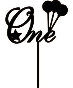 """Kuchenstecker - Cake Topper """"One"""" mit Luftballons Acryl schwarz"""