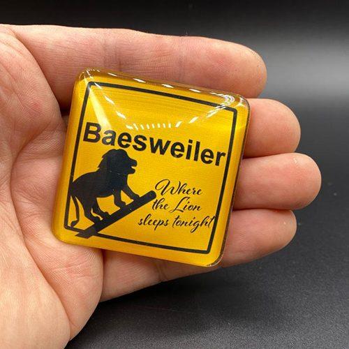 "Kühlschrankmagnet ""Baesweiler - Where the Lion sleeps tonight"""