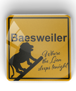 "Kühlschrankmagnet ""Baesweiler - Where the Lion sleeps tonight"""